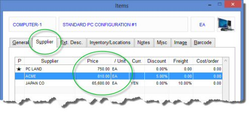 Supplier pricing in free Purchase Order Software