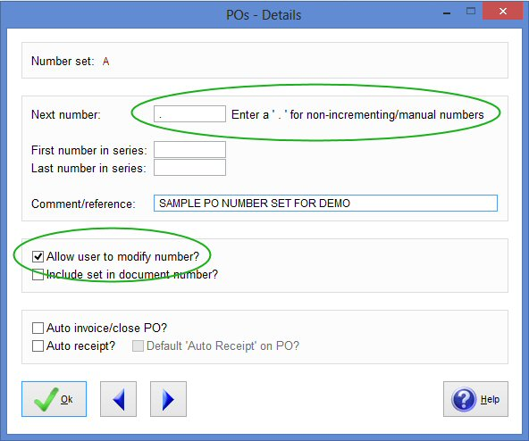 PO number settings