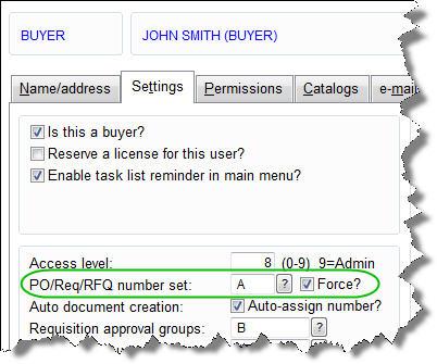 PO Number Settings for User