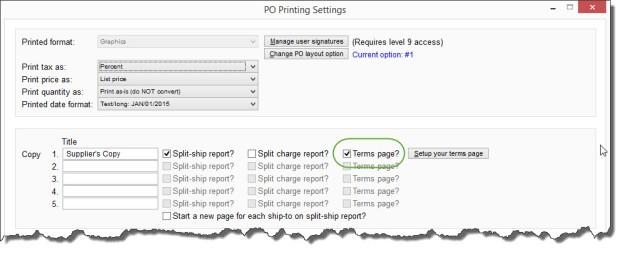 PO Printing Settings