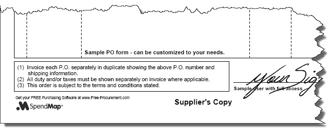 Short terms and conditions on PO form