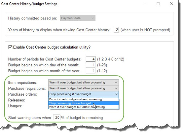 Budget settings in free Purchase Order Software