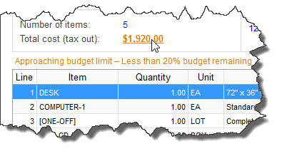 Budget warning on Purchase Order screen