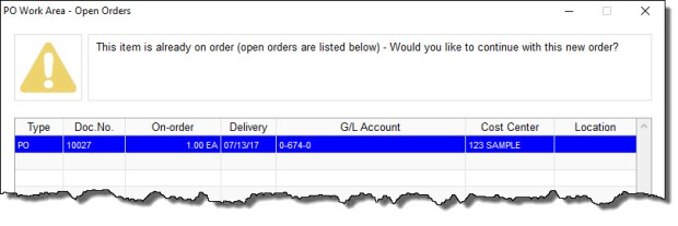 Open Order Warning in Free Purchase Order Software