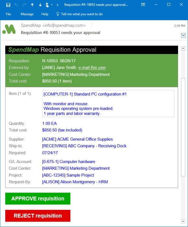 Approve requisitions via email.