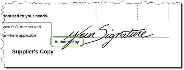 PO Form Signature Line